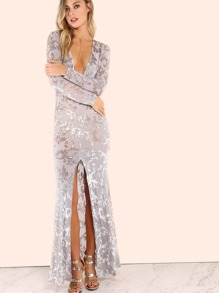 Grey Vine Pattern Deep V Neck Slit Front Sheer Dress