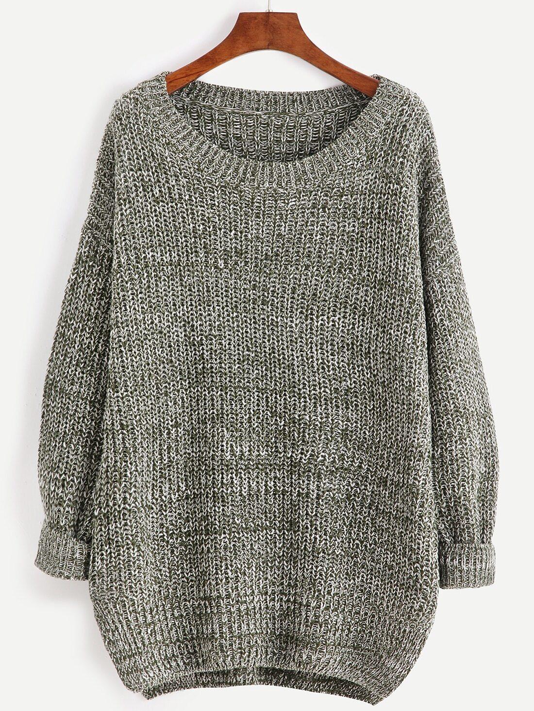 SheIn Grey Marled Knit Slit Cocoon Sweater
