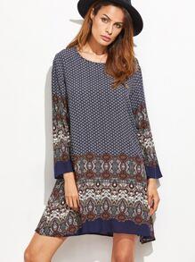 Mehrfarben-Stammes- Druck-langes Hülsen-Schicht-Kleid