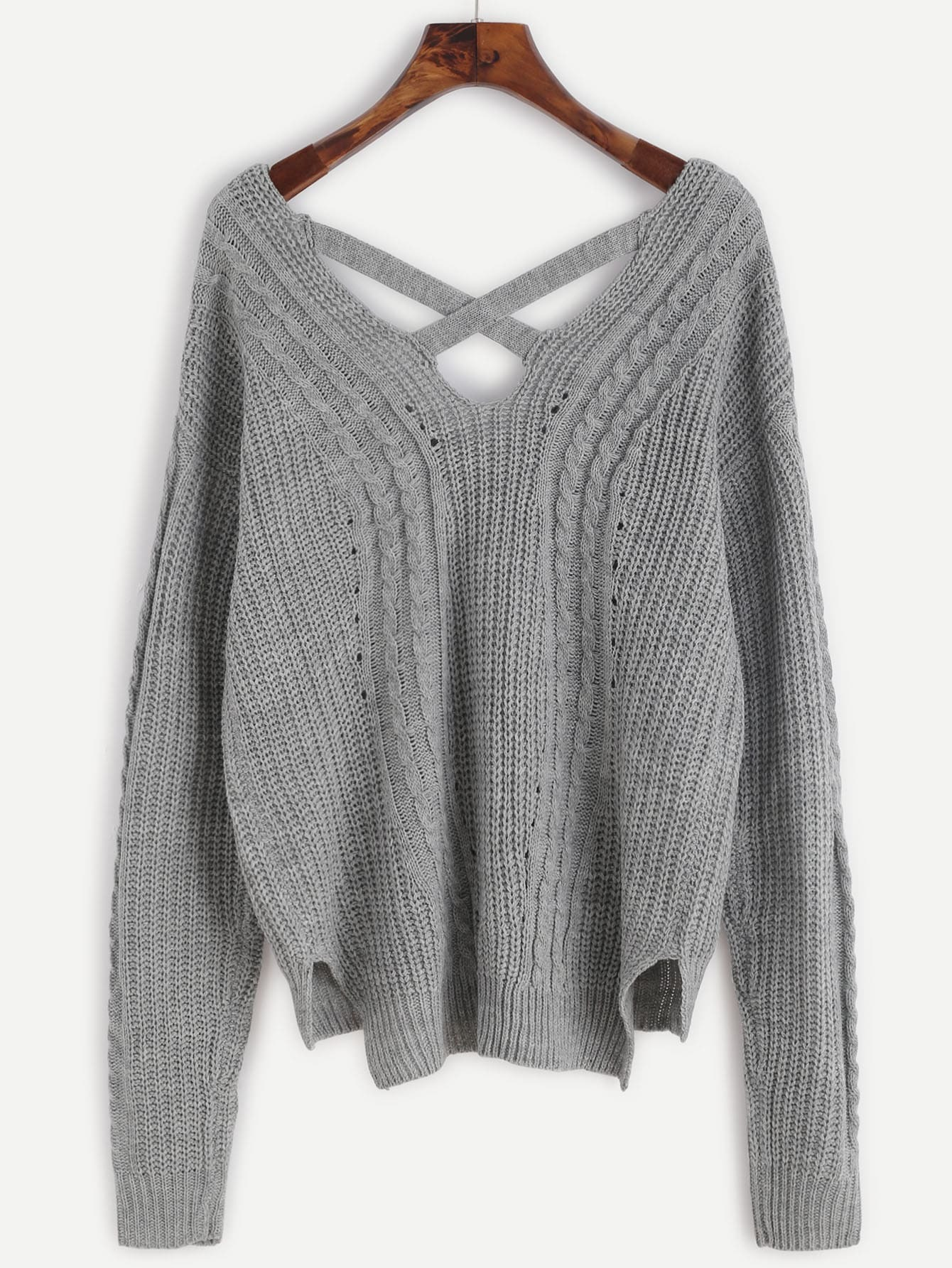 Grey Cable Knit Criss Cross Back Sweater -SheIn(Sheinside)