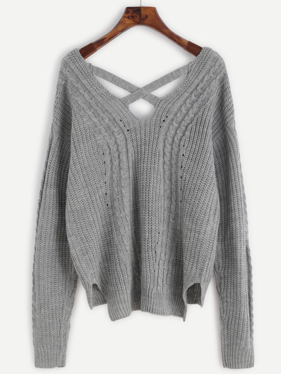 Grey Cable Knit Criss Cross Back Sweater