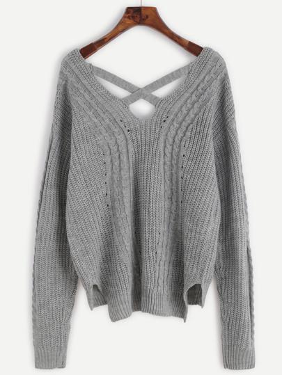 Pull tricoté en câble dos avec lacet croisé - gris
