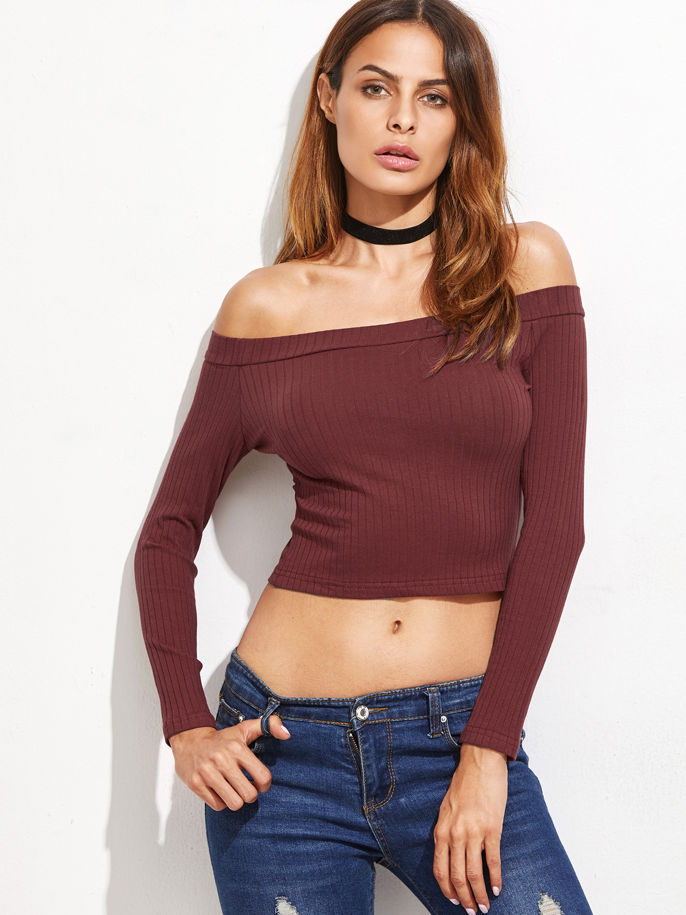 Burgundy Off The Shoulder Ribbed T-shirt tee161018006