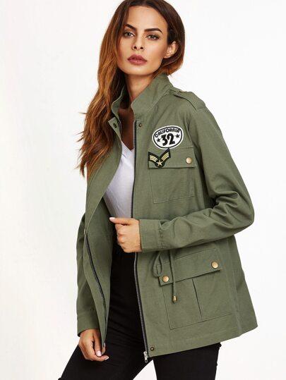 Olive Green Multi Pockets Drawstring Utility Jacket