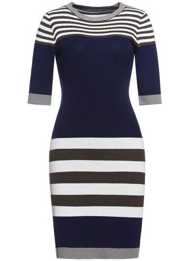 Color Block Striped Knit Sheath Dress