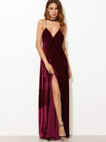 Burgundy Strappy Backless Velvet Wrap Dress