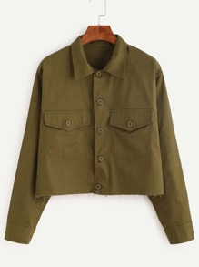 Army Green Raw Hem Crop Jacket
