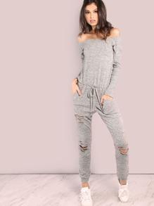 Off Shoulder Distressed Sweatshirt Jumpsuit