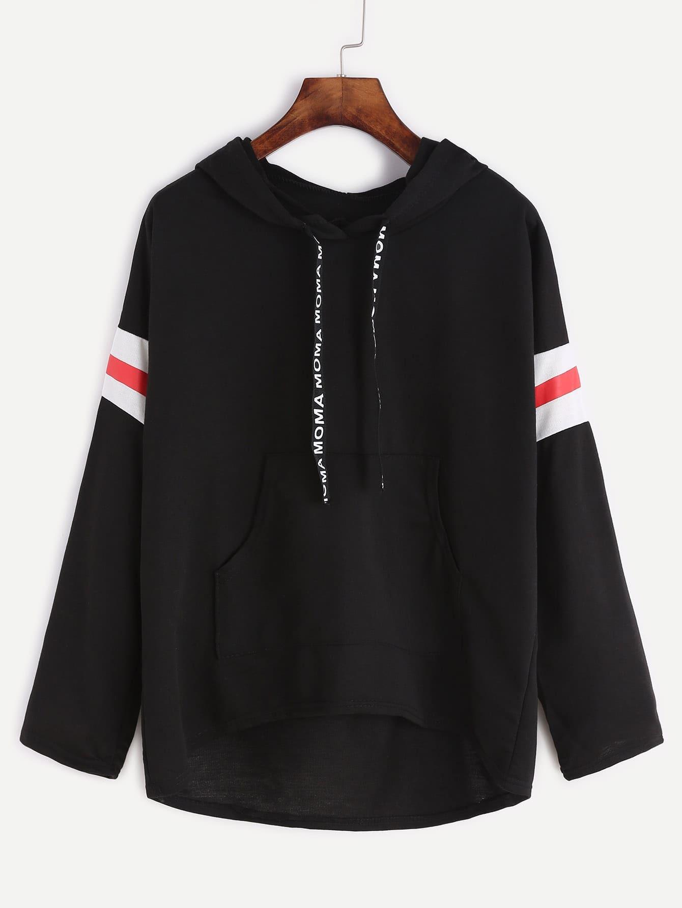 Black Varsity Print Drawstring Hooded Sweatshirt alien print drop shoulder hooded drawstring sweatshirt