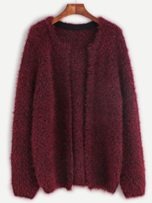 Burgundy Open Front Fluffy Sweater Coat
