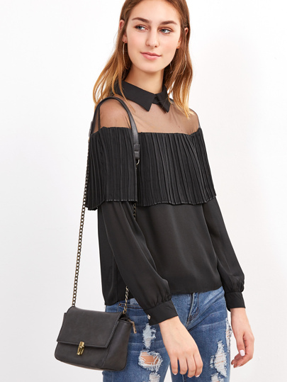 Mesh Insert Shoulder Frill Trim Blouse