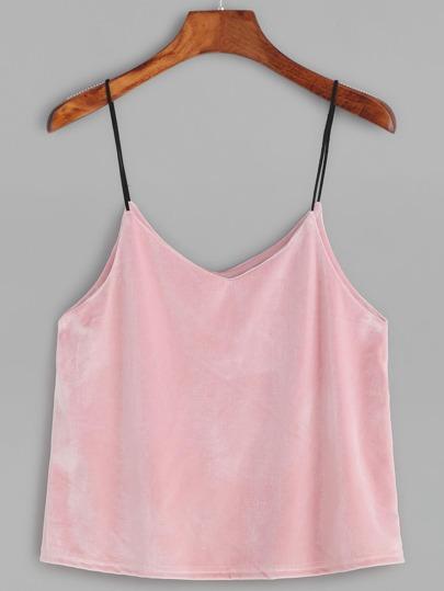 Pink Velvet Cami Top
