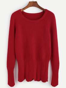 Red Ribbed Knit Scallop Banded Bottom Sweater