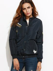 Navy Sequin Letter Back Padded Jacket With Patch