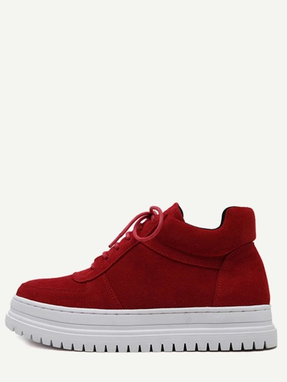 Red Plush Leather Lace Up Flatform Sneakers