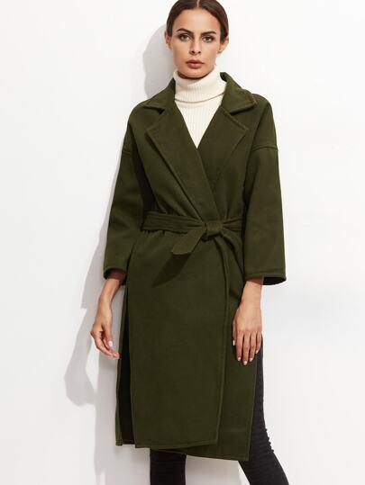 Army Green Drop Shoulder Slit Side Wrap Coat