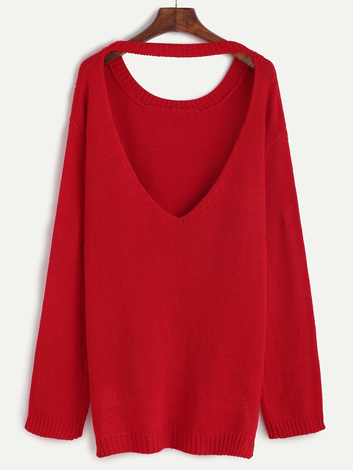 Red Cutout V Back High Low Sweater -SheIn(Sheinside)