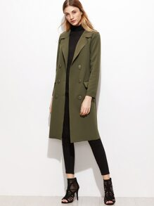 Army Green Double Breasted Slit Side Coat