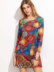 Ornate Print Pockets Shift Dress