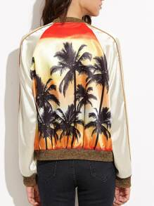 Multicolor Coconut Tree Print Satin Bomber Jacket