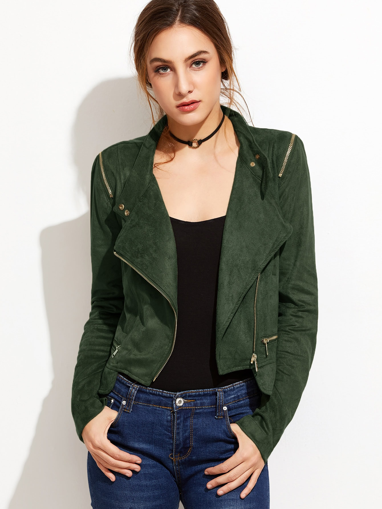 Buy Army Green Oblique Zipper Suede Jacket