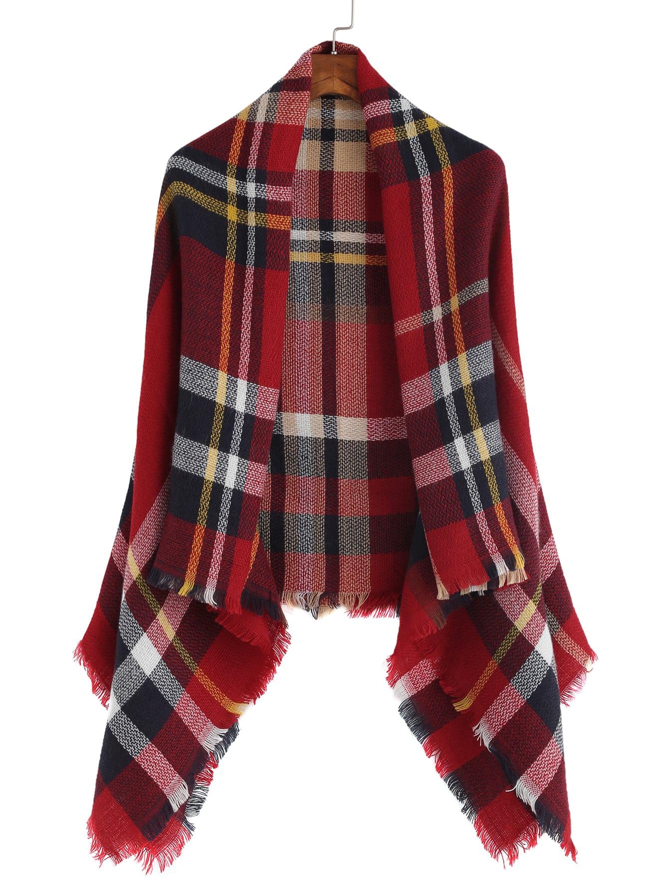 Red Plaid Raw Edge Shawl Scarf scarf161025103