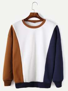 Color Block Contrast Trim Drop Shoulder Sweatshirt