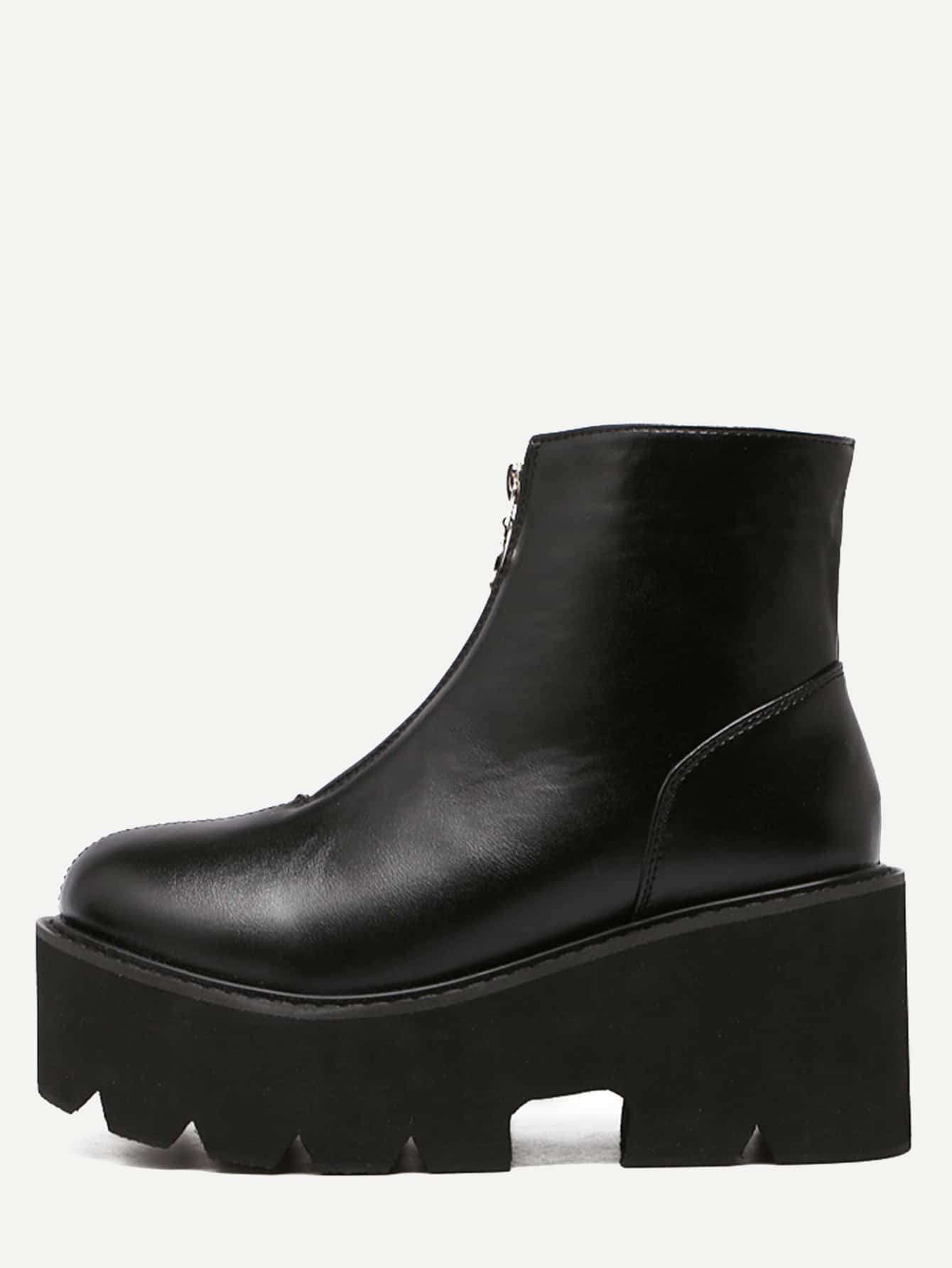 black faux leather front zipper platform boots shein