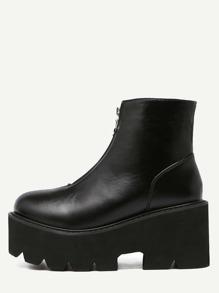 Black Faux Leather Front Zipper Platform Boots