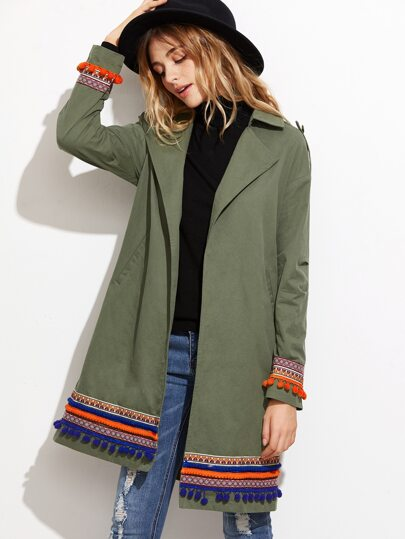 Olive Green Trench Coat With Embroidered Tape Detail