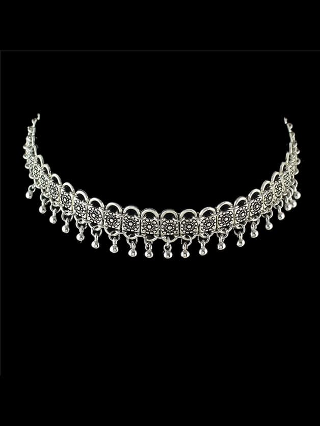 Indian Design Metal Beads Choker Collar Necklace
