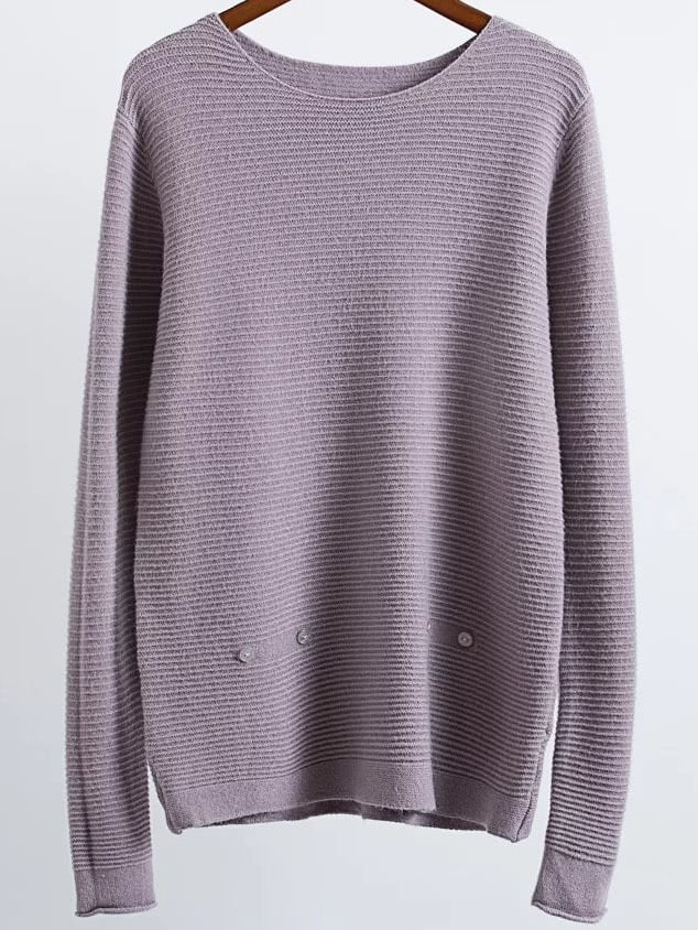 Purple Ribbed Button Detail Sweater sweater161022202