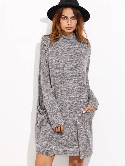 Marled Knit Dropped Shoulder Dress