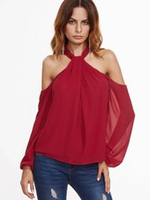 Red Twist Halter Cold Shoulder Zip Back Top