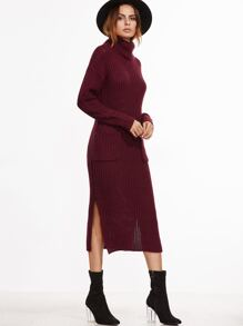 Burgundy Turtleneck Pocket Front Side Slit Sweater Dress