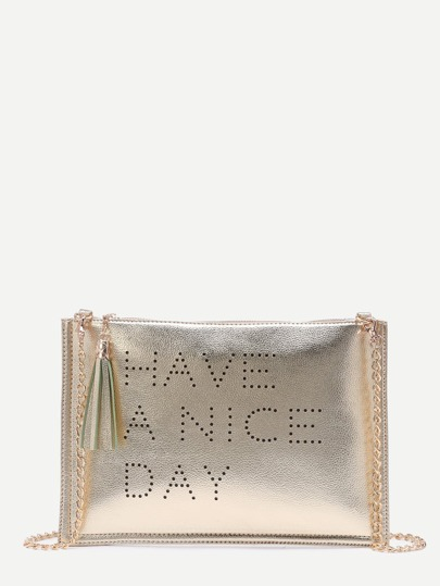 Gold Hollow Out Words Tassel Clutch Bag With Chain