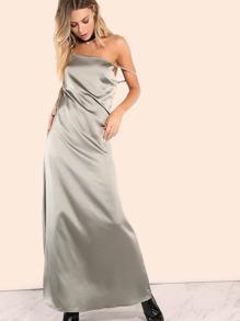 Straight Satin Maxi Dress OLIVE