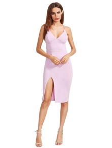 Light Purple Split Side Star Back Sheath Dress
