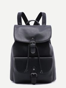 Чёрный модный рюкзак на кулиске