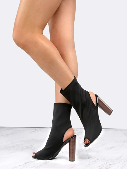 Heel Cut Out Ankle Boots BLACK