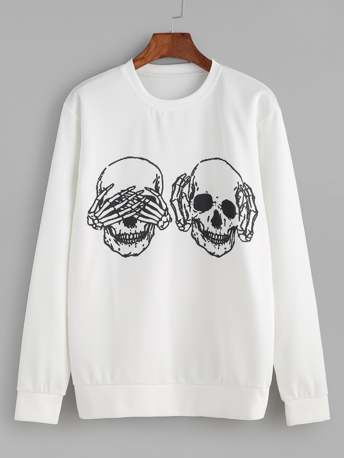 White Skull Print Sweatshirt sweatshirt161019301
