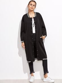 Black Varsity Stripe Button Up Long Jacket