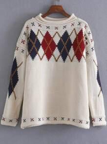 White Diamond Pattern Drop Shoulder Sweater