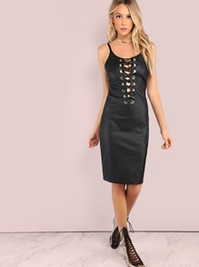 Faux Leather Eyelet Lace Up Dress BLACK