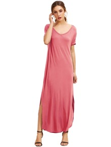 Dark Pink Sleeve Pocket Split Side Dress