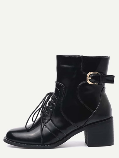 Black Faux Leather Lace Up Buckle Strap Chunky Heel Short Boots