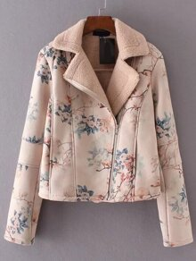 Floral Print Oblique Zipper Jacket