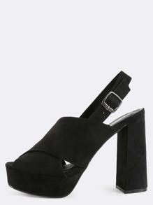 Peep Toe Criss Cross Slingback Heels BLACK