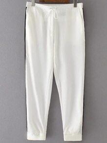 White Color Block Drawstring Waist Pants