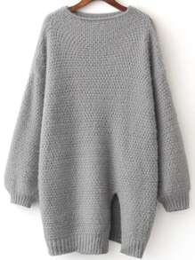 Grey Front Slit Lantern Sleeve Sweater